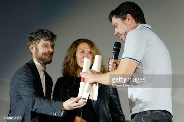 Rod Paradot, Caroline Vignal, Fabien Gorgeart attend the closing ceremony on day five of the Valenciennes Film FestivalSeptember 28, 2021 in...