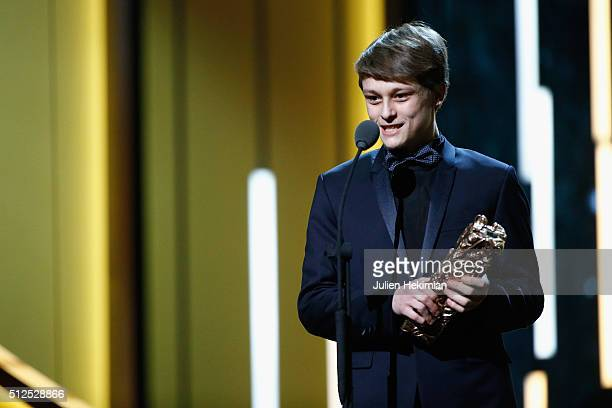 Rod Paradot receives the Cesar of the best promising actor during The Cesar Film Award 2016 at Theatre du Chatelet on February 26 2016 in Paris France
