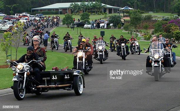 Rod Parlington's mother Lilli on Pillion leads Bandidos from Ryhope Crematorium on a Harley Davidson motor bike carrying her son's coffin 2 April...