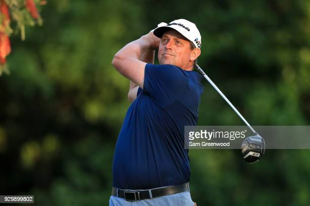Rod Perry plays his shot from the ninth tee during the second round of the Valspar Championship at Innisbrook Resort Copperhead Course on March 9...