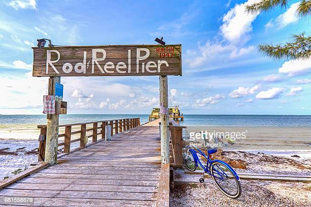 rod reel pier, anna maria island, florida - anna maria island stock pictures, royalty-free photos & images