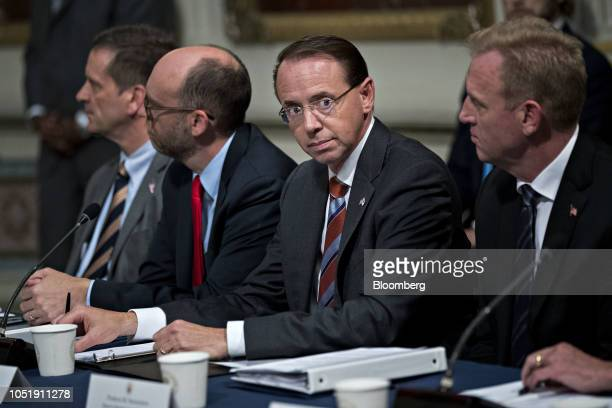 Rod Rosenstein deputy attorney general center attends an Interagency Task Force to Monitor and Combat Trafficking in Persons annual meeting in the...