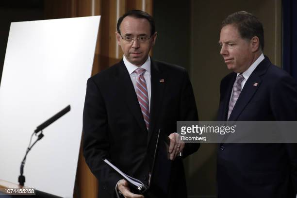 Rod Rosenstein deputy attorney general left and Geoffrey Berman US attorney for the Southern District of New York arrive to a news conference at the...