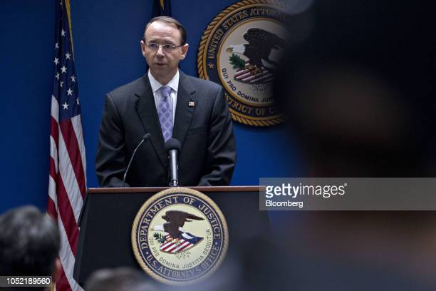 Rod Rosenstein deputy attorney general speaks during a news conference at the US Attorney's Office for the District of Columbia on efforts to reduce...