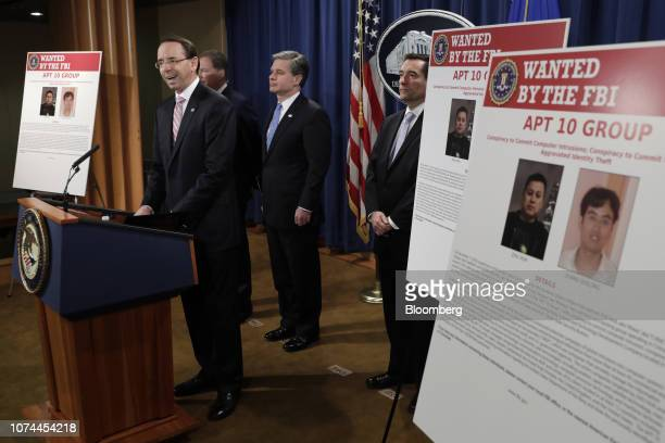 Rod Rosenstein deputy attorney general speaks during a news conference at the Department of Justice in Washington DC US on Thursday Dec 20 2018...