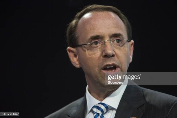 Rod Rosenstein deputy attorney general speaks during the Bloomberg Law Leadership Forum in New York US on Wednesday May 23 2018 The Bloomberg Law...