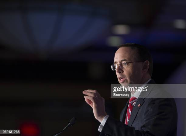 Rod Rosenstein deputy attorney general speaks during the International Economic Forum Of The Americas in Montreal Quebec Canada on Monday June 11...