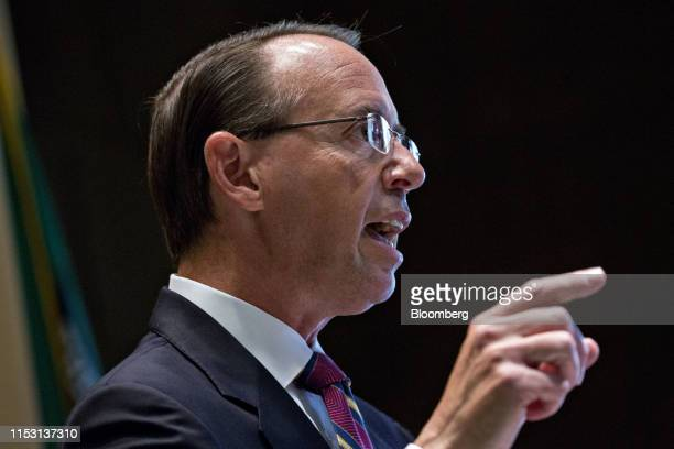 Rod Rosenstein, former deputy Attorney General, speaks during an Internal Revenue Service Criminal Investigation 100th year anniversary event at the...