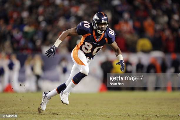Rod Smith of the Denver Broncos runs a route late in the game against the San Francisco 49ers at Invesco Field at Mile High December 31 2006 in...
