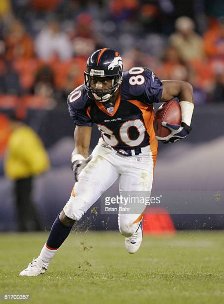 Rod Smith of the Denver Broncos runs upfield against the Atlanta Falcons on October 31 2004 at Invesco Field at Mile High Stadium in Denver Colorado...