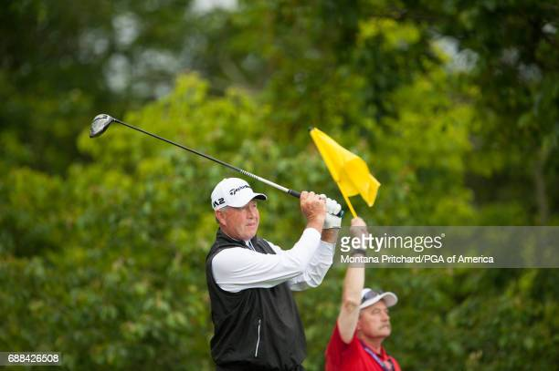 Rod Spittle of Canada hits his tee shot on the 14th hole during Round One for the 78th KitchenAid Senior PGA Championship at Trump National Golf Club...