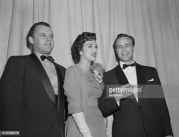 Rod Steiger, Katy Jurado and Marlon Brando pictured at the 27th annual Academy Awards.