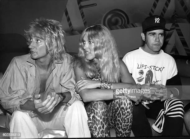 Rod Stewart Alana Hamilton and Elton John at Studio 54 circa 1978 in New York City