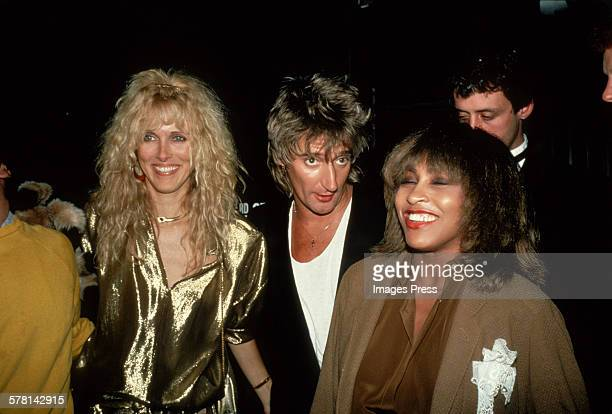 Rod Stewart Alana Stewart and Tina Turner circa 1981 in New York City