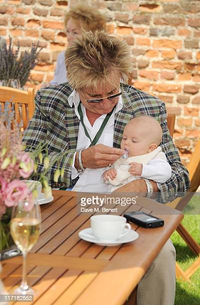 Rod Stewart and baby Aiden attend the Salon Prive in association with Audemars Piguet at Syon Park on June 24, 2011 in London, England.