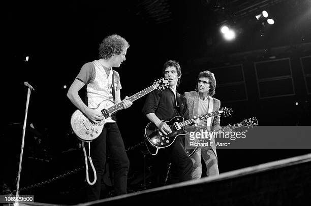 Rod Stewart and band perform live on stage at the Forum in Los Angeles in December 1981 LR Jim Cregan Robin Le Mesurier Wally Stocker