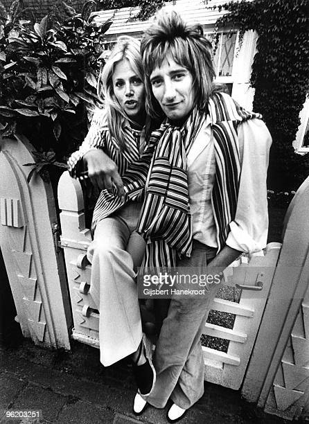 Rod Stewart and Britt Ekland posed in Amsterdam, Netherlands in 1975