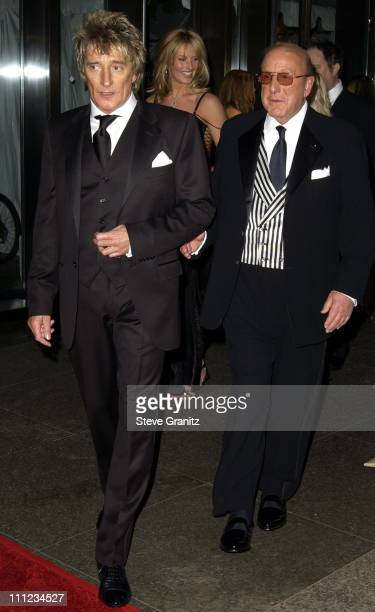 Rod Stewart and Clive Davis during 2003 Clive Davis PreGRAMMY Party Arrivals at The Regent Wall Street in New York City New York United States
