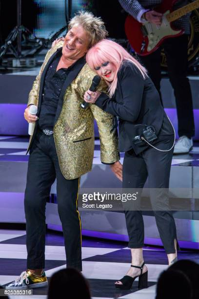 Rod Stewart and Cyndi Lauper perform at DTE Energy Music Theater on August 1 2017 in Clarkston Michigan