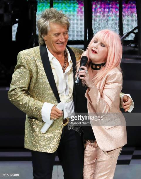 Rod Stewart and Cyndi Lauper perform at Hollywood Casino Amphitheatre on August 5 2017 in Tinley Park Illinois