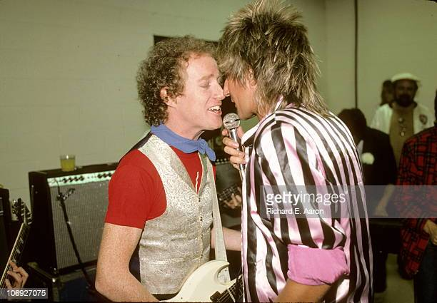Rod Stewart and his band warm up backstage prior to his concert at the Forum in Los Angeles in December 1981 LR Jim Cregan Rod Stewart