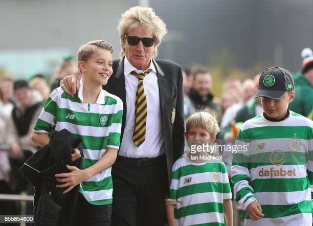 Rod Stewart and his children Alastair and Aiden arrive prior to the Ladbrokes Scottish Premiership match between Celtic and Hibernian at Celtic Park...
