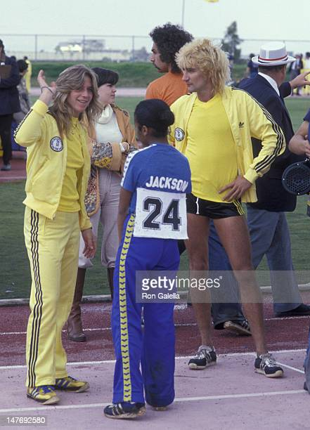 Rod Stewart and Janet Jackson attend First Annual Rock N Roll Sports Classic on March 12 1978 at the University of California in Irvine California