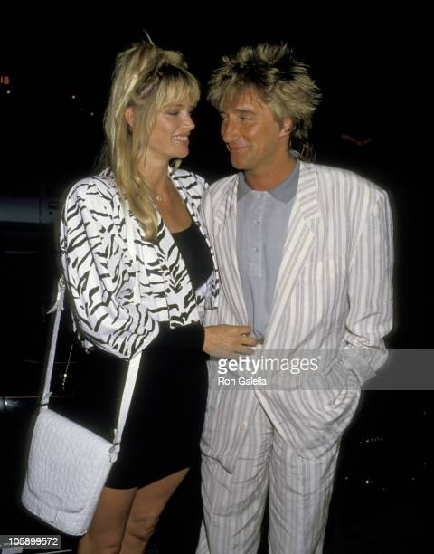 Rod Stewart and Kelly Emberg during Rod Stewart Sighting at La Cage Aux Folles Restaurant June 24 1987 at La Cage Aux Folles Restaurant in Los...