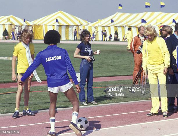 Rod Stewart and Michael Jackson attend First Annual Rock N Roll Sports Classic on March 12 1978 at the University of California in Irvine California