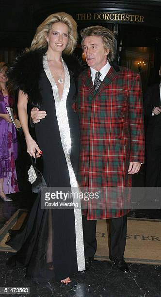 Rod Stewart and Penny Lancaster arrive at the Royal National Institute Of The Blind Gala Dinner at The Dorchester October 12 2004 in London England
