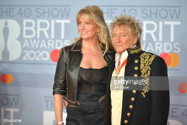Rod Stewart and Penny Lancaster attend The BRIT Awards 2020 at The O2 Arena on February 18, 2020 in London, England.