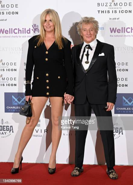 Rod Stewart and Penny Lancaster attend The Icon Ball 2021 during London Fashion Week September 2021 at The Landmark Hotel on September 17, 2021 in...