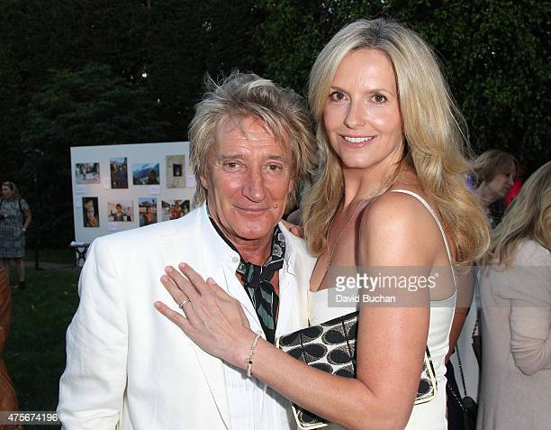 Rod Stewart and Penny Lancaster attend the Theirworld Astley Clarke summer reception in celebration of charitable partnership at the private...