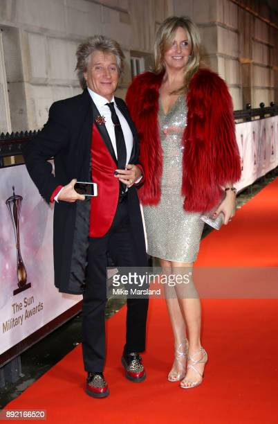 Rod Stewart and Penny Lancaster attends The Sun Military Awards at Banqueting House on December 13 2017 in London England