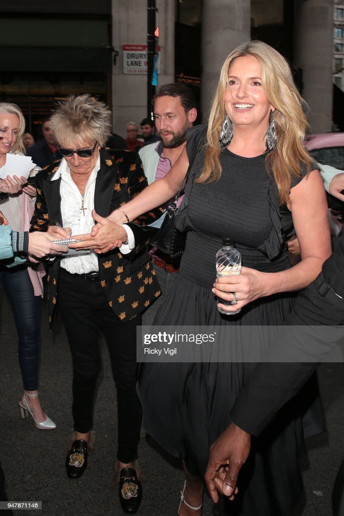 Rod Stewart and Penny Lancaster seen attending Tina - press night at Aldwych Theatre on April 17, 2018 in London, England.