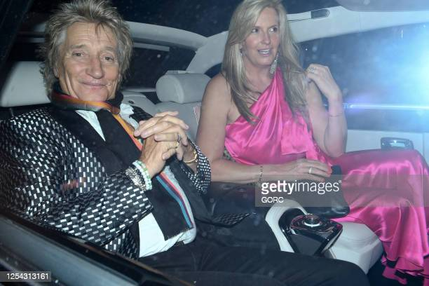 Rod Stewart and Penny Lancaster seen leaving Annabel's club in Mayfair on July 04, 2020 in London, England.