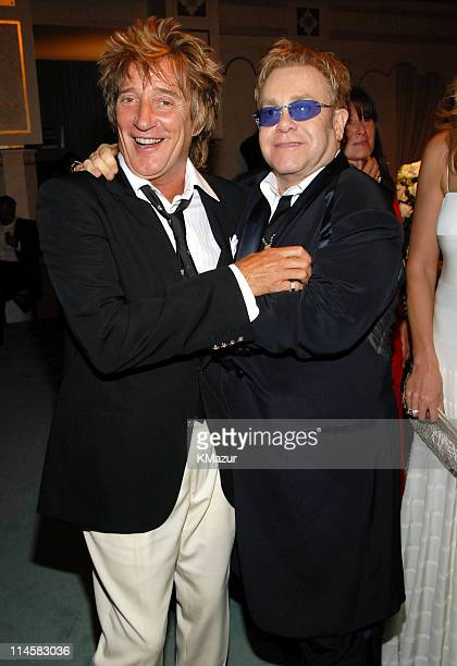 Rod Stewart and Sir Elton John during The 8th Annual White Tie and Tiara Ball to Benefit the Elton John AIDS Foundation in Association with Chopard...