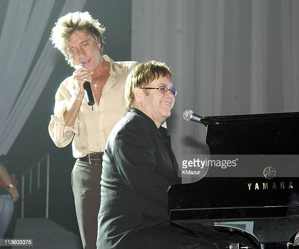 """Rod Stewart and Sir Elton John during The Andre Agassi Charitable Foundation's 7th """"Grand Slam for Children"""" Fundraiser - Rehearsal at The MGM Grand..."""