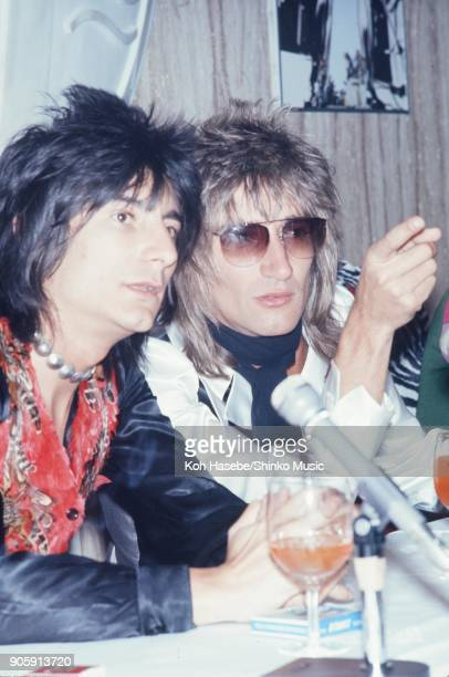 Rod Stewart And The Faces at press conference February 1974 Tokyo Japan Rod Stewart Ron Wood