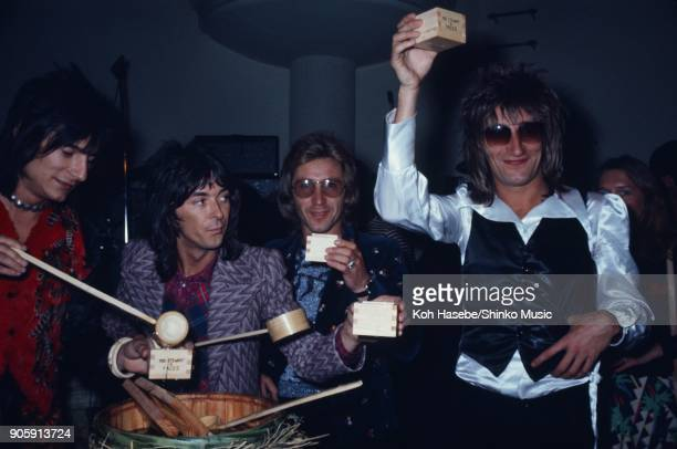 Rod Stewart And The Faces at reception party February 1974 Tokyo Japan Rod Stewart Ron Wood Kenney Jones Ian McLagan