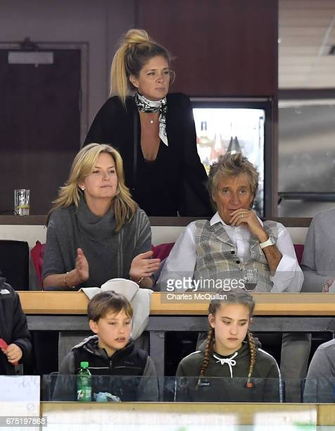 Rod Stewart and wife Penny Lancaster and Rachel Hunter with family members during the Ice Hockey Division 1B World Championship event at SSE Arena...