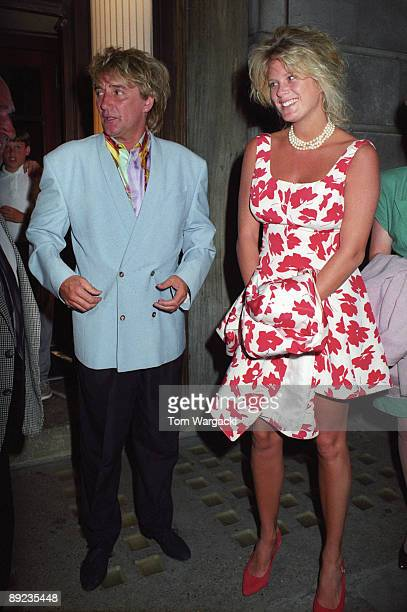 Rod Stewart and wife Rachel Hunter at Langan's Brasserie on June 2 1992 in London England