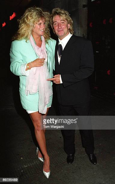 Rod Stewart and wife Rachel Hunter at Langan's Brassrie on April 2 1992 in London England