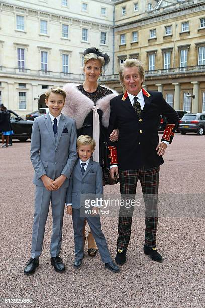 Rod Stewart arrives at Buckingham Palace with his wife Penny Lancaster and children Alastair and Aiden ahead of him receiving his knighthood in...