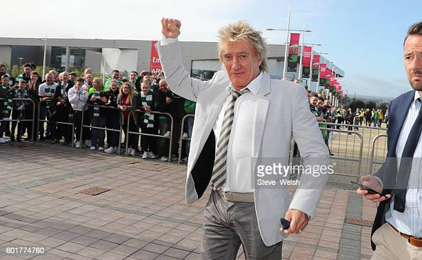 Rod Stewart arrives at Celtic Park before the Ladbrokes Scottish Premiership match between Celtic and Rangers on September 10 2016 in Glasgow