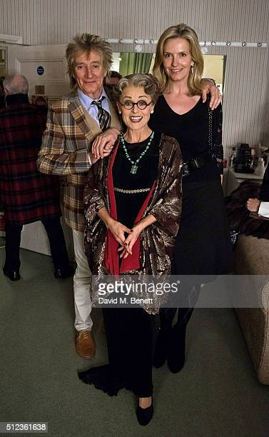 Rod Stewart cast member Tracie Bennett and Penny Lancaster pose backstage following a performance of Mrs Henderson Presents at the Noel Coward...