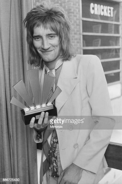 Rod Stewart holding his Best Singer Award at The Oval Pop Festival Oval Cricket Ground South London The festival was sponsored by Music Magazine...