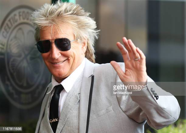 Rod Stewart is seen arriving during the UEFA Champions League third qualifying round second leg match between Celtic and CFR Cluj at Celtic Park on...
