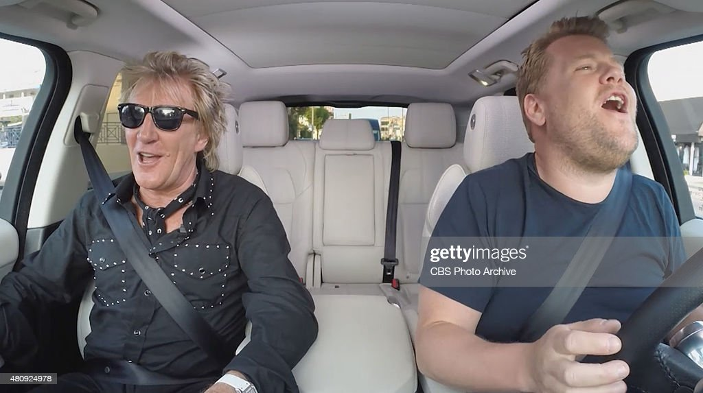 Rod Stewart joins James Corden on his way to work for another edition of Carpool Karaoke on 'The Late Late Show with James Corden,' Tuesday, July 14 (12:37 -- 1:37 AM, ET/PT) on the CBS Television Network. Image is a screen shot.