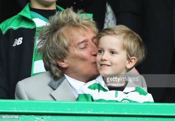 Rod Stewart kisses his son Aiden in the stands prior to the Ladbrokes Scottish Premiership match between Celtic and Rangers at Celtic Park on March...
